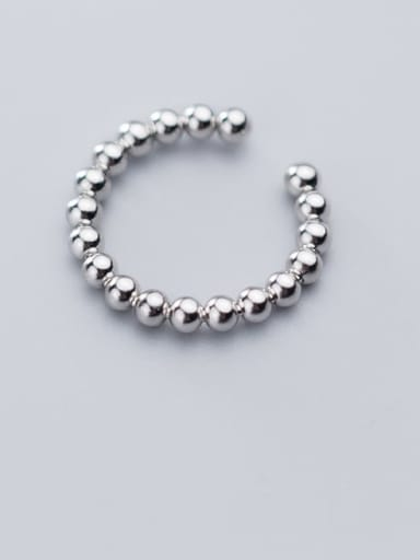 925 Sterling Silver Bead Round Minimalist Free Size Ring