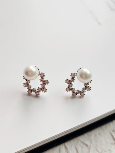 925 Sterling Silver Imitation Pearl White Geometric Minimalist Stud Earring