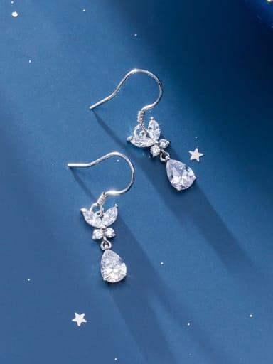 925 Sterling Silver Cubic Zirconia White Water Drop Minimalist Hook Earring