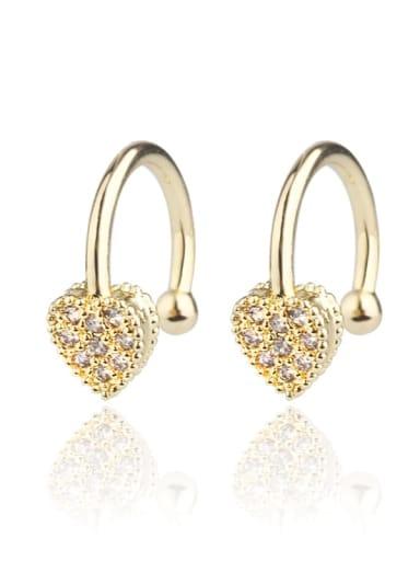 Copper Cubic Zirconia Heart Dainty Clip Earring