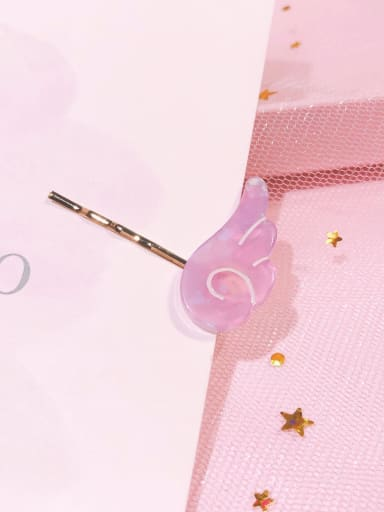 Wing glittering purple Alloy Cellulose Acetate Minimalist Heart Hair Pin