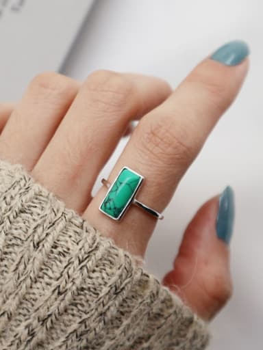 925 Sterling Silver Turquoise  Geometric Minimalist  Free Size Ring