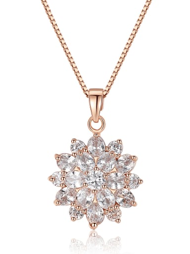 Copper Cubic Zirconia Flower Dainty Necklace