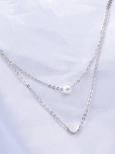 silvery Titanium Imitation Pearl White Heart Minimalist Multi Strand Necklace