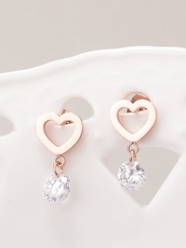 Titanium Cubic Zirconia White Heart Minimalist Drop Earring