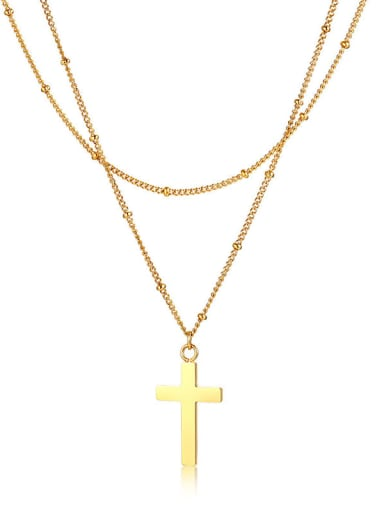 Stainless Steel With Gold Plated Simplistic Cross Multi Strand Necklaces