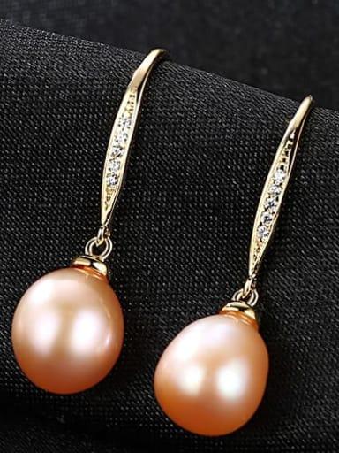 Pink 3B04 925 Sterling Silver Freshwater Pearl Oval Trend Hook Earring