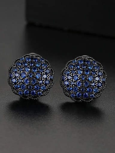 Blue t04e26 Copper Cubic Zirconia Flower Dainty Cluster Earring