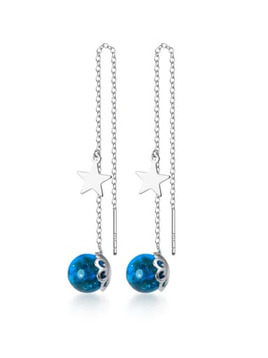 925 sterling silver simple synthetic blue crystal earline