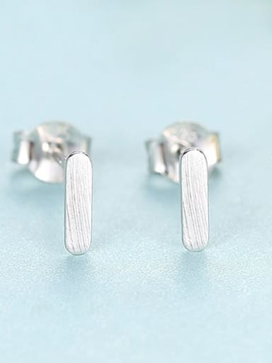 Silver 24f07 925 Sterling Silver Smooth Square Minimalist Stud Earring