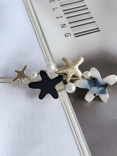 Black and white Alloy Cellulose Acetate Minimalist Star  Hair Pin