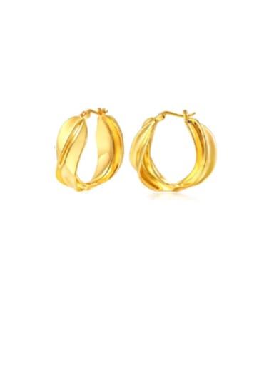 Copper Hollow Round Minimalist Drop Earring