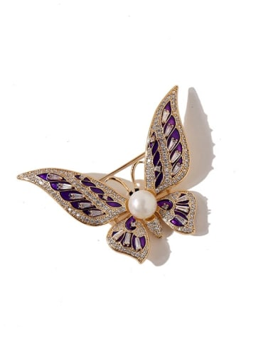 Copper Cubic Zirconia Multi Color Enamel Butterfly Luxury Brooches