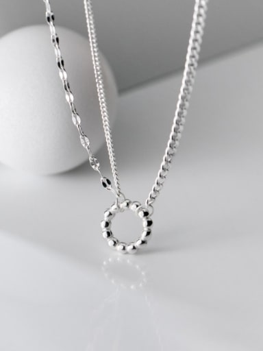 925 Sterling Silver Rhinestone Geometric Minimalist Necklace