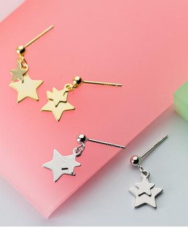 925 Sterling Silver  Minimalist Pentagram Drop Earring