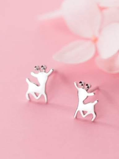 925 Sterling Silver Fashion Smooth Elk  Study Earring