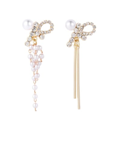 Brass Imitation Pearl White Tassel Trend Drop Earring