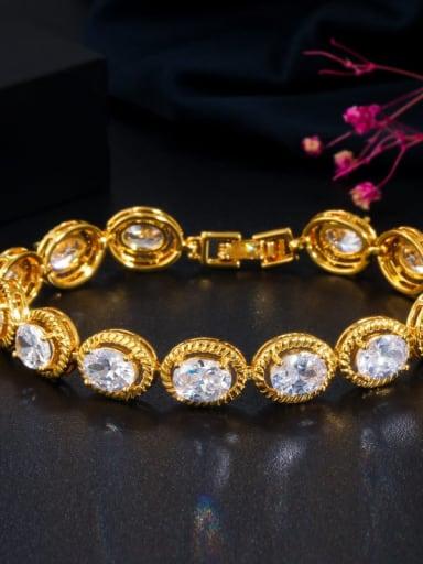 Gold white zirconium Copper Cubic Zirconia Geometric Minimalist Bracelet