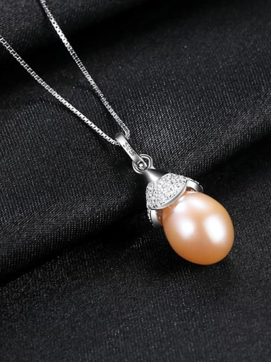 Pink 5K12 925 Sterling Silver Freshwater Pearl  Pendant  Necklace