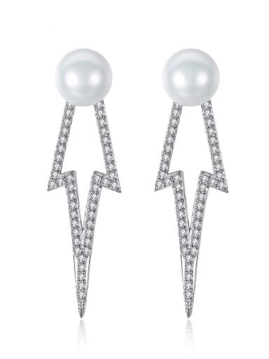 925 Sterling Silver Freshwater Pearl Geometric Classic Drop Earring