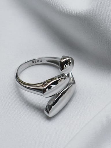 J 531 combined geometric face ring S925 Sterling Silver geometric smooth simple opening ring