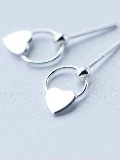 925 Sterling Silver Smooth Heart Minimalist Drop Earring