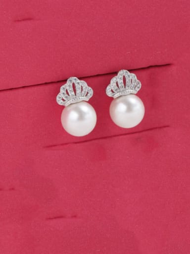 925 Sterling Silver Imitation Pearl Crown Dainty Stud Earring