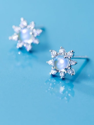 925 sterling silver glass bead flower minimalist stud earring