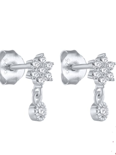 platinum 925 Sterling silver Rhinestone Geometric Minimalist  snowflake Stud Earring
