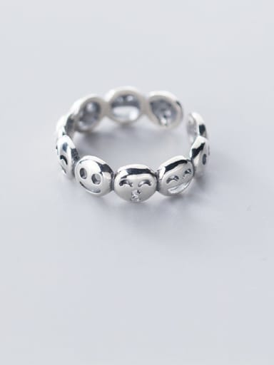 925 Sterling Silver  Vintage  Smiley Free Size Ring