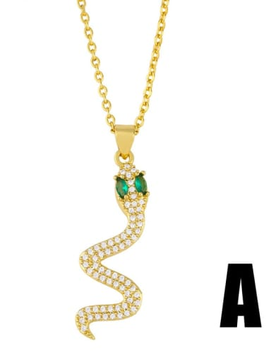 A Gold +green Brass Cubic Zirconia Snake Ethnic Necklace
