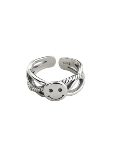 Vintage Sterling Silver With Platinum Plated Cute Smiley  Free Size Rings
