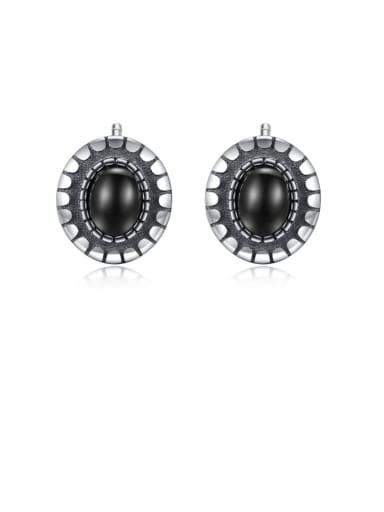 925 Sterling Silver retro oval Obsidian studing Earring