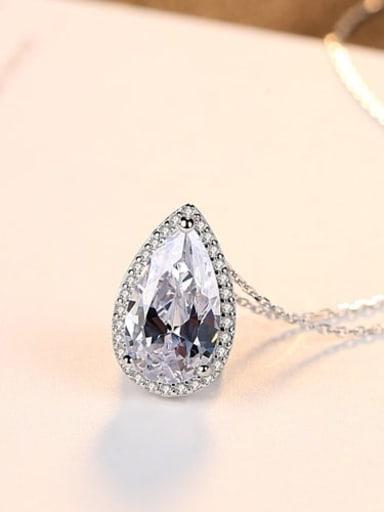 Platinum white zirconium 15d03 925 Sterling Silver Cubic Zirconia  long water drop pendant Necklace