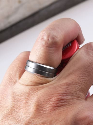 Titanium With Black Gun Plated Simplistic Round Band Rings