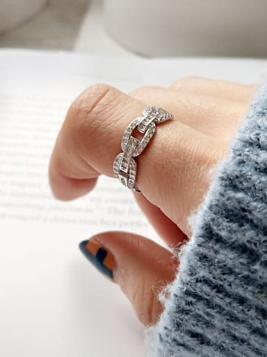 925 Sterling Silver Ring Buckle With Diamond   Minimalist Midi Ring