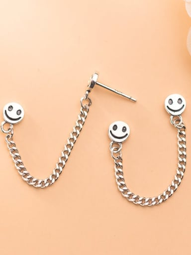 925 Sterling Silver Face Vintage smiley chain Stud Earring