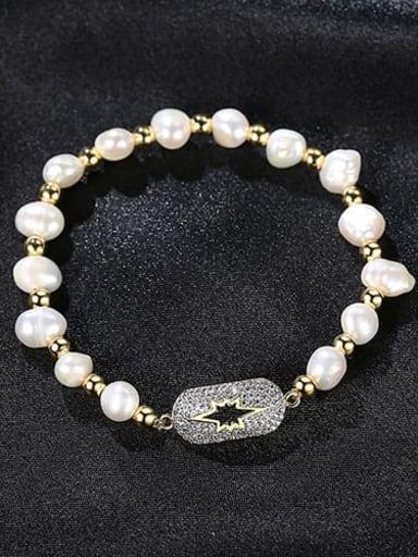 White zirconium plating 18K t14e14 Copper Cubic Zirconia Geometric Dainty Bracelet