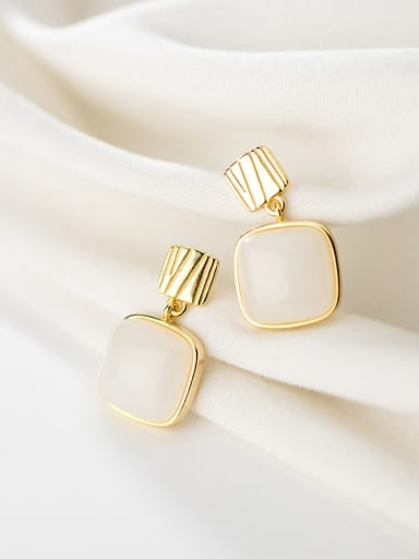 925 Sterling Silver With Gold Plated Minimalist Square Minimalist Drop Earrings