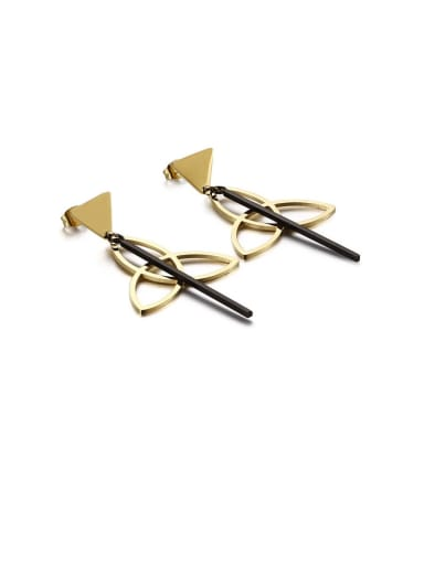Golden black Stainless Steel Hollow Triangle Minimalist Drop Earring
