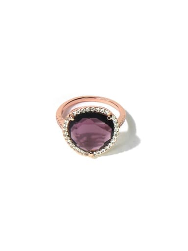 Rosy violet Copper Cubic Zirconia Multi Color Water Drop Minimalist Band Ring