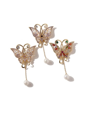 Copper Cubic Zirconia Multi Color Butterfly Cute Brooches