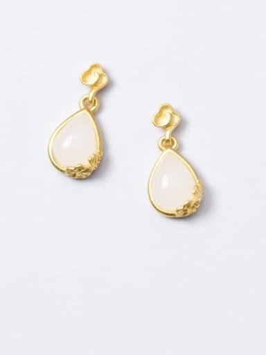 925 Sterling Silver Cats Eye Water Drop Minimalist Drop Earring