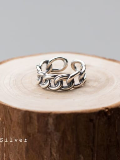 925 Sterling Silver Irregular  Chain Vintage Free Size Ring