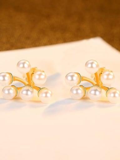 18K 24G08 925 Sterling Silver Freshwater Pearl White Flower Minimalist Stud Earring