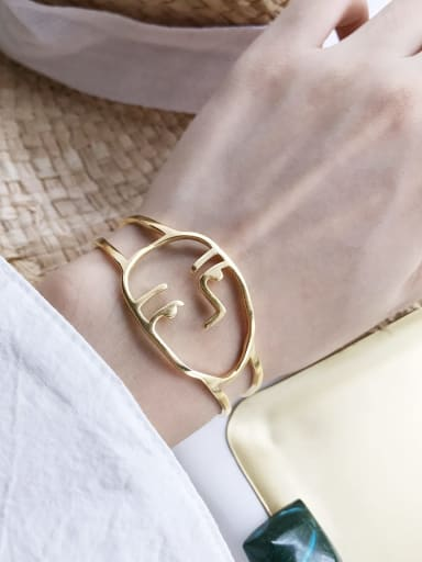 925 Sterling Silver Simple cutout face  Cuff Bangle