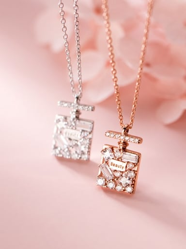 925 Sterling Silver Cubic Zirconia Square Vintage Necklace