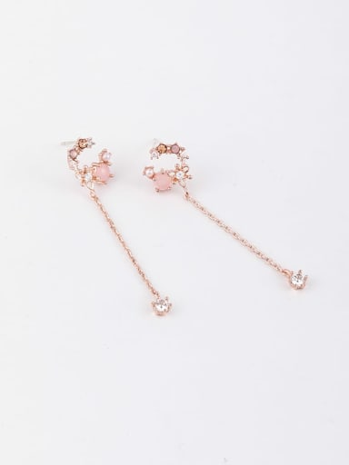 Copper Cubic Zirconia Multi Color Tassel Minimalist Threader Earring