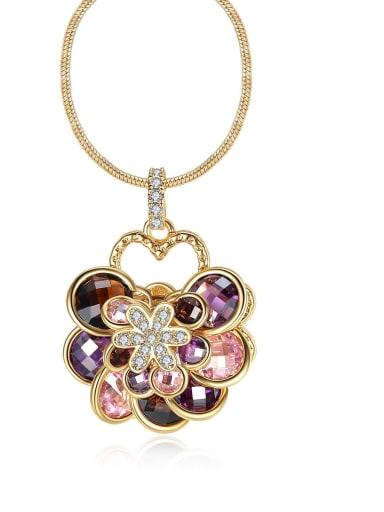 Copper Cubic Zirconia  Vintage Multi Color Flower Pendant Necklace