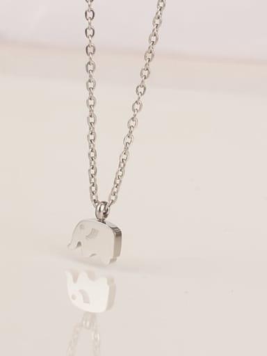 Titanium Smooth Elephant Cute Choker Necklace